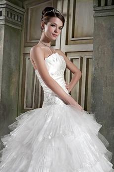 Gorgeous White Organza Layered Ball Gown Wedding Dress