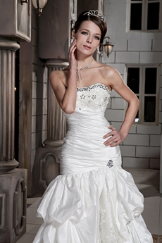Modest A-line Taffeta Plus Size Wedding Dress With Dropped Waist