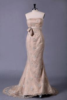 Corset Back Champagne Lace Mermaid Wedding Dress