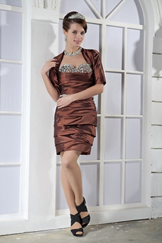 Sheath Mini Length Sweetheart Brown Taffeta Wedding Guest Dress With Bolero