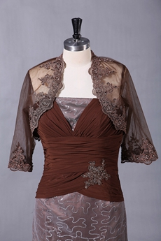 3/4 Sleeves Mini Length Brown Mother Of The Groom Dress
