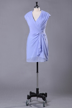 Mini Length V-Neckline Sheath Lavender Wedding Guest Dress