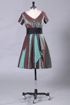 Short Sleeves V-Neckline Knee Length Wedding Guest Dress
