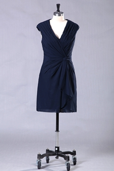 V-Neckline Column Dark Navy Mother Of The Groom Dress