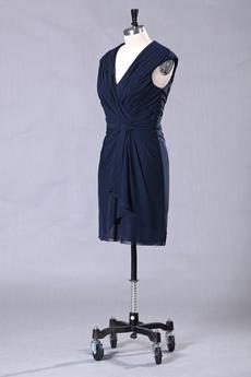 V-Neckline Column Dark Navy Mother Of The Groom Dress