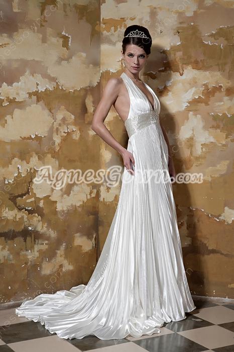 Sexy Top Halter A-line Satin Open Back Wedding Dress
