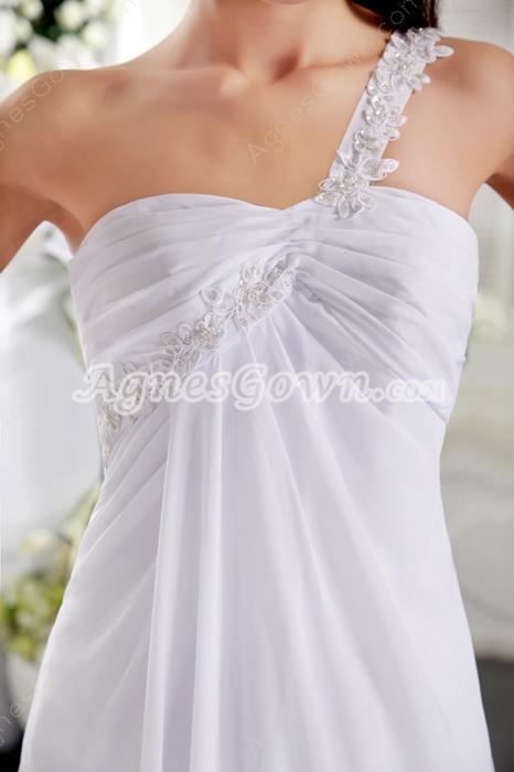 Empire Full Length White Chiffon One Shoulder Summer Beach Wedding Dress