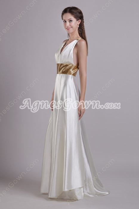 Hot Crossed Straps Back Ivory Wedding Dress Front Slit