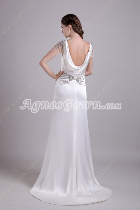 Sexy Deep V-Neckline Column Satin Wedding Dress