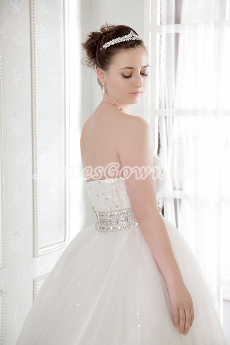 Beautiful Ball Gown Lace Wedding Dress Chapel Train