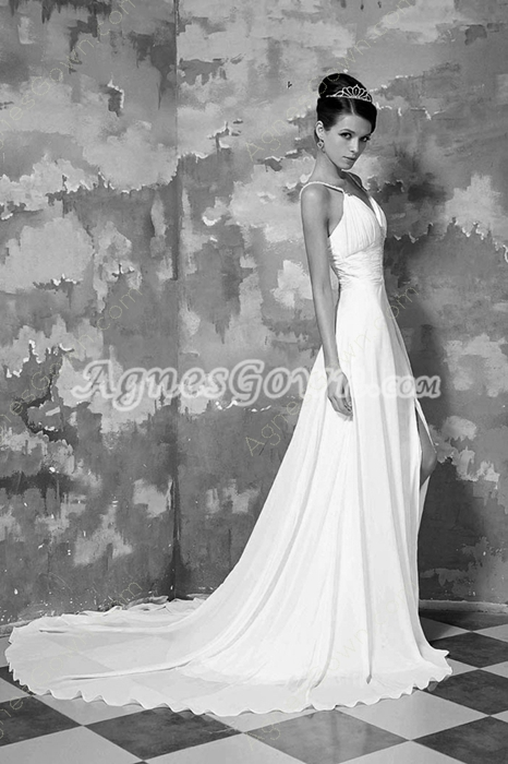 Hot Low-cut Sweetheart Spaghetti Straps Chiffon Summer Wedding Dress