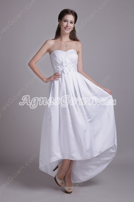 Corset Back High Low Hem Satin Beach Wedding Dress