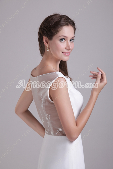 Illusion Back Beach Wedding Dress With Embroidery Beads