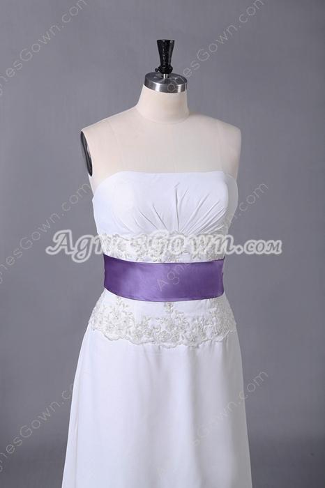 High Low Hem Ivory Chiffon Beach Wedding Dress