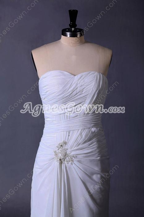 Corset Back A-line Ivory Chiffon Destination Wedding Dress