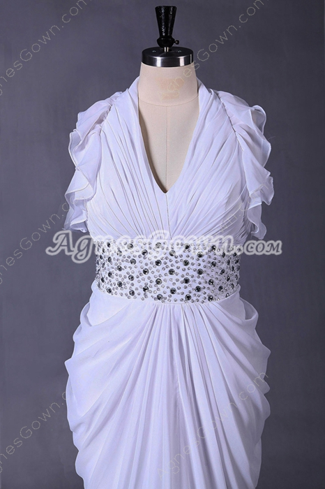 Plunge Neckline Sheath Floor Length White Beach Wedding Dress