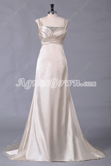 A-line Full Length Champagne Satin Prom Dress