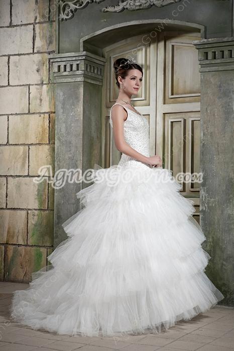 Beaded Bodice Scoop Neeckline Hawaii Wedding Dresses