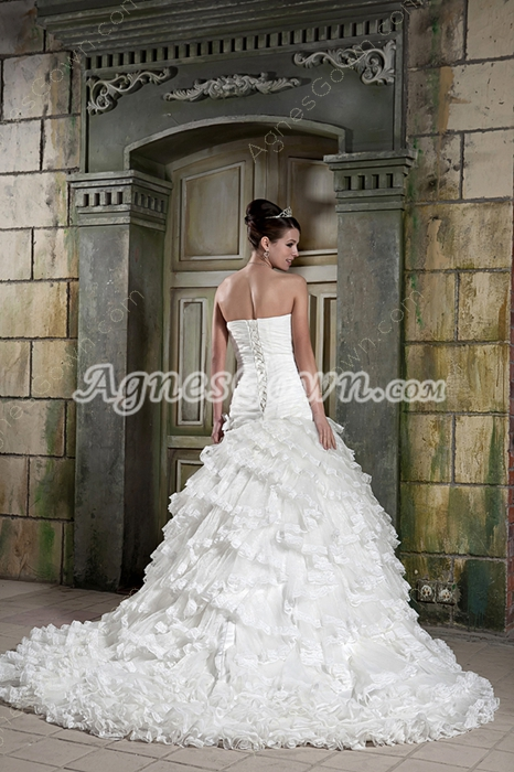 Multi-Folded Strapless Ball Gown Church Wedding Dress
