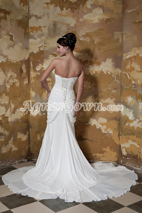 Romantic Sheath Full Length White Chiffon Summer Beach Wedding Gown