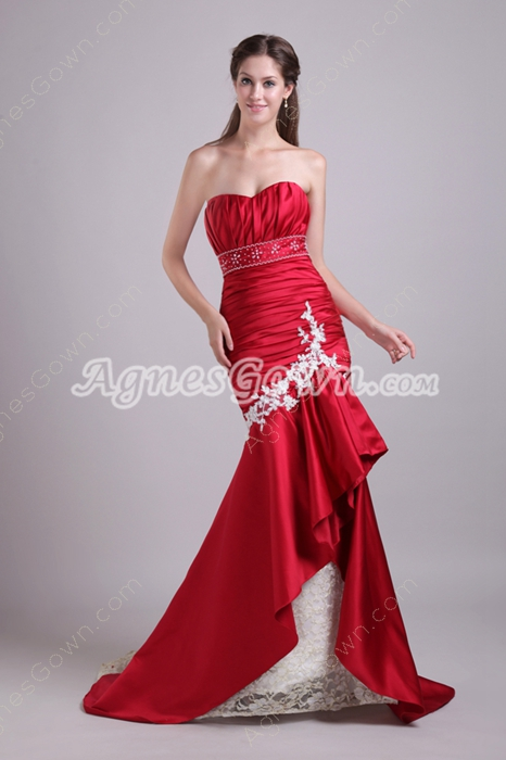 Gorgeous Sweetheart Red And Champagne Mature Lace Mermaid Wedding Gown