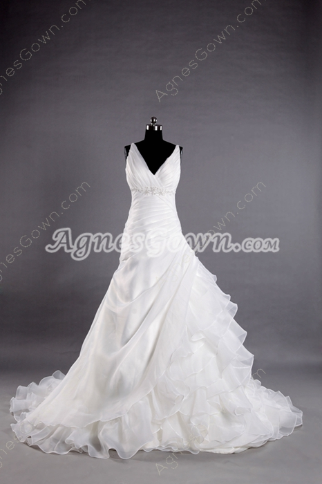 Plunge Neckline A-line Organza Wedding Dress With Ruffles