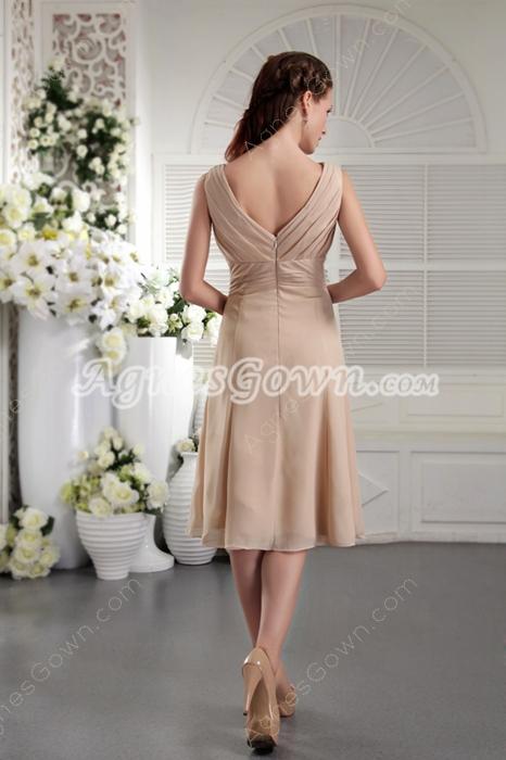 Modest V-Neckline Column Tea Length Champagne Wedding Guest Dress