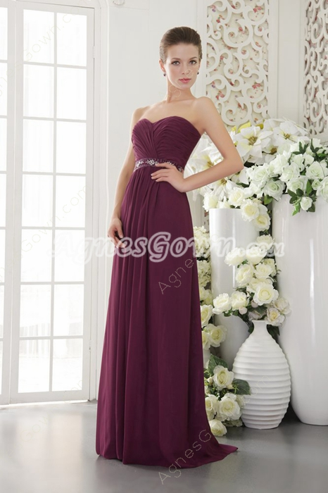 Popular Sweetheart Column Grape Colored Bridesmaid Dress