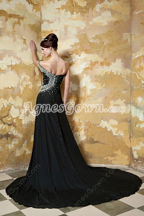 Luxurious One Shoulder A-line Black Chiffon Prom Dress With Heavy Beads
