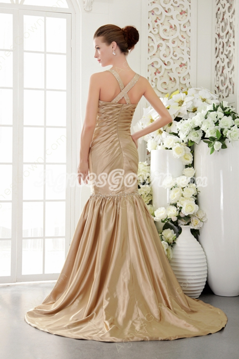 Stunning Straps Full Length Trumpet/Mermaid Champagne Prom Dress