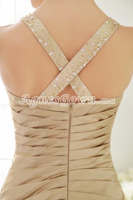 Stunning Straps Full Length Trumpet/Mermaid Champagne Prom Dress