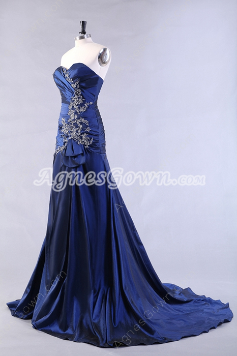 Shimmering Royal Blue Taffeta Prom Dress With Appliques
