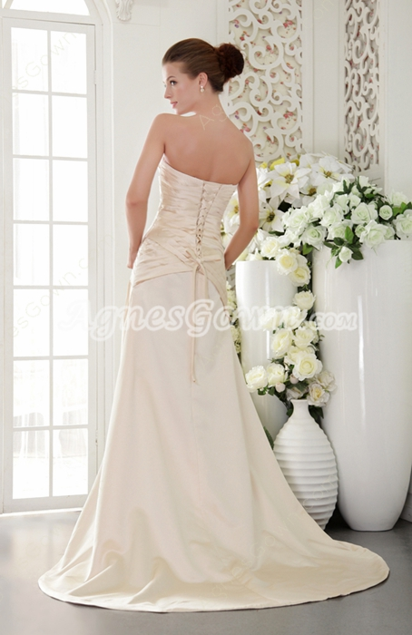 Elegance Strapless Plain Satin Champagne Prom Dress Corset