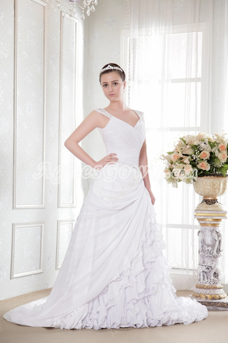 Luxury Chiffon Ruffled Wedding Dress V-Back