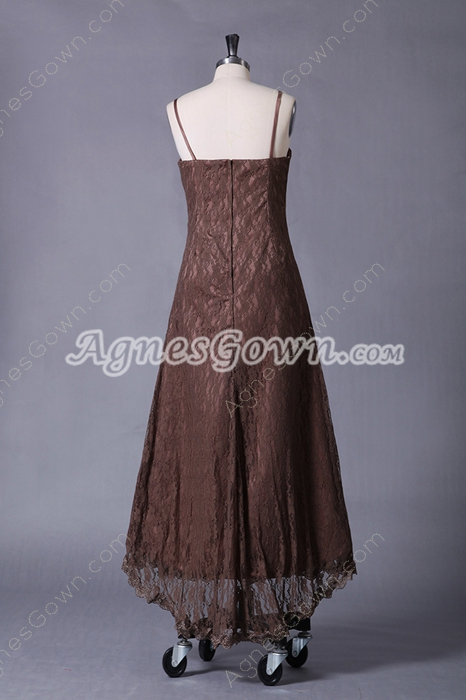 Spaghetti Straps A-line Tea Length Brown Lace Prom Dress