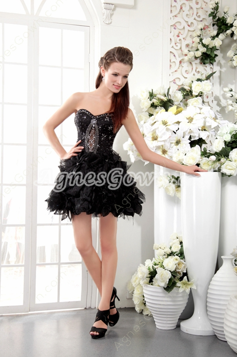 Cut Out Mini Length Sweetheart Puffy Black Cocktail Dress
