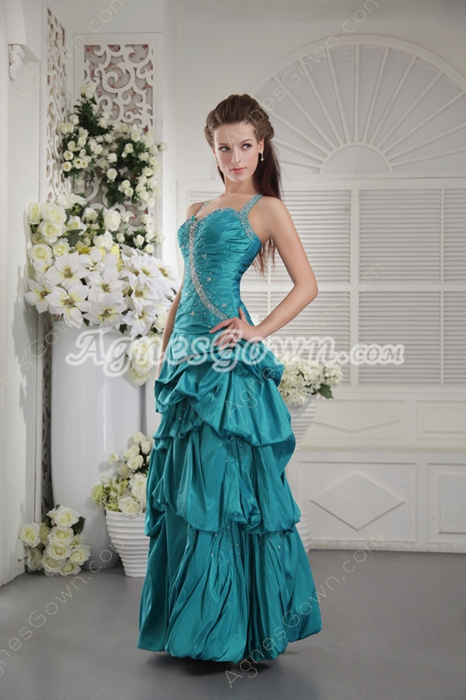 Crossed Straps Back Column Teal Color Quinceanera Dress