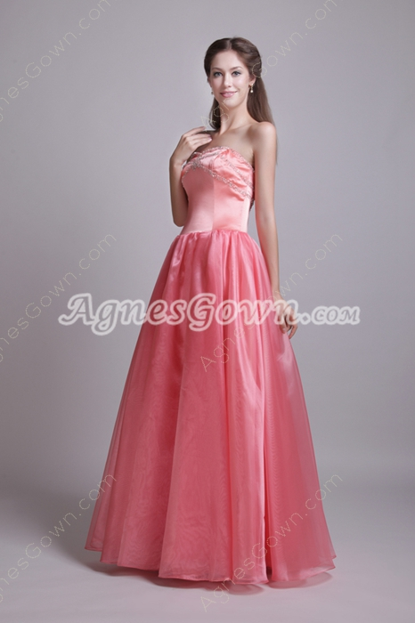 Dipped Neckline Watermelon Organza Princess Quince Dress