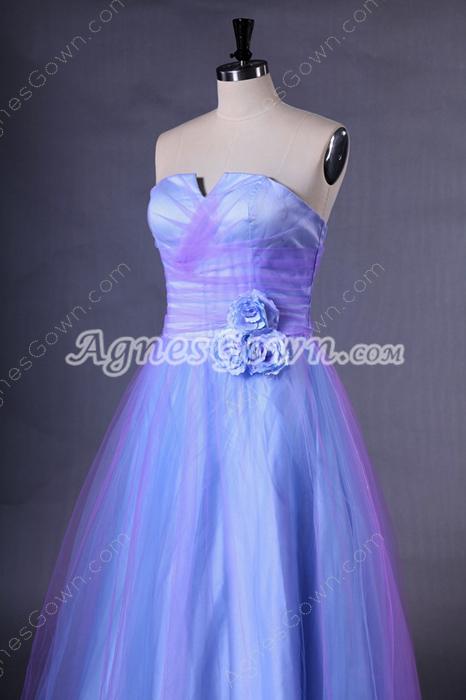 Cowl Neckline Lilac And Blue Princess Quinceanera Dress