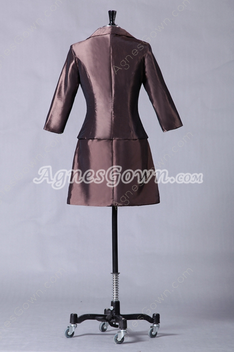 Modest Mini Length Brown Mother Of The Groom Dress