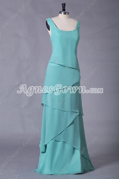Square Neckline Column Full Length Mint Green Prom Dress