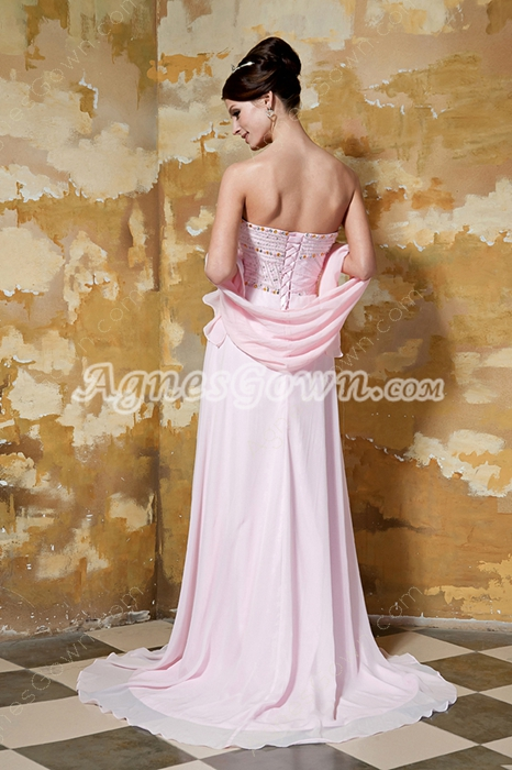 Column Floor Length Pearl Pink Chiffon Prom Dress With Beaded Bodice