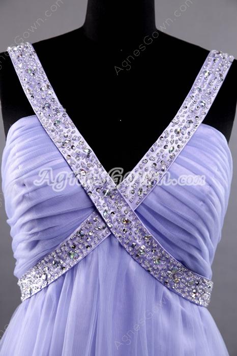 Plunge Neckline Empire Full Length Lavender Tulle Prom Dress