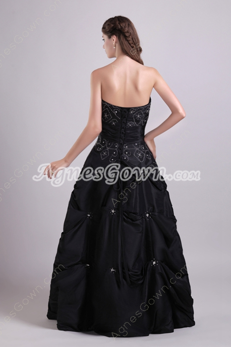 Special Puffy Floor Length Black Taffeta Quinceanera Dress
