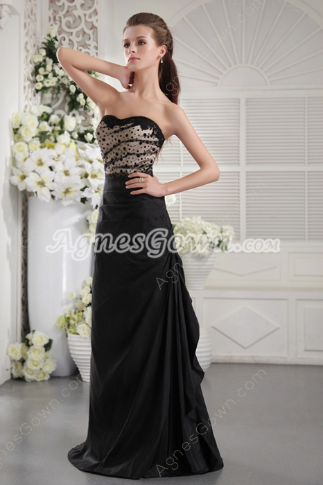 Strapless Column Full Length Black And Champagne Prom Gown