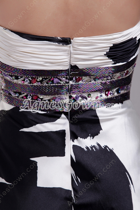 Special Strapless A-line Full Length Black And White Printed Prom Dress