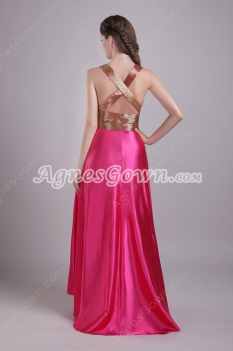 Plunge Neckline Column Hot Pink Prom Dress Crossed Straps Back