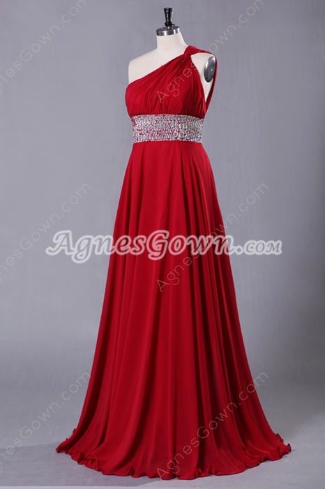 One Shoulder A-line Red Chiffon Prom Dress Crossed Straps Back