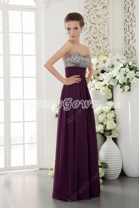 Straght/Column Full Length Grape Colored Chiffon Prom Dress With Great Handwork