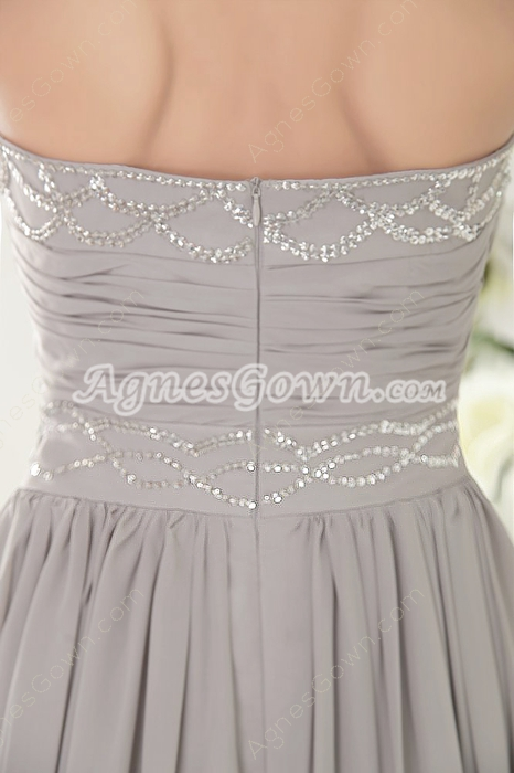 Graceful Sweetehart A-line Silver Gray Chiffon Formal Evening Gown